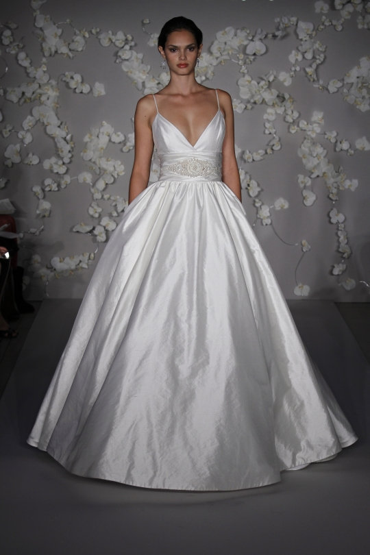 Lazaro 39s wedding dress style LZ3008 is an ivory spaghetti straps neckline
