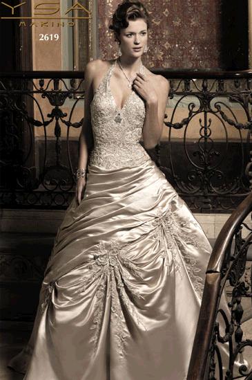 YSA Makino 39s wedding dress style 2619 is a champagne halter neckline