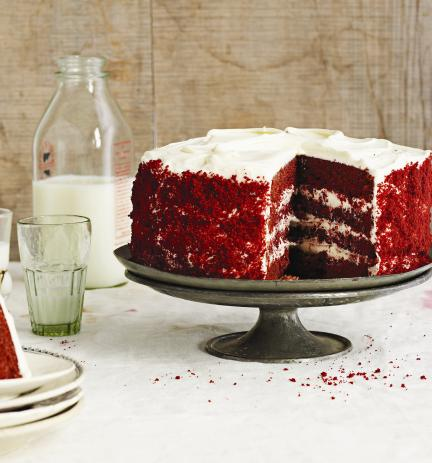 Make this delectable red velvet cake for your bridal shower, rehearsal dinner, or wedding reception!