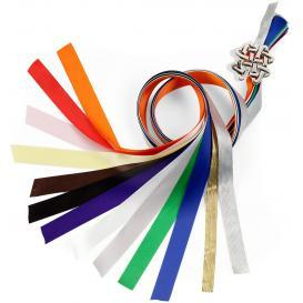 rainbow colored handfasting ribbons for a handfasting ceremony