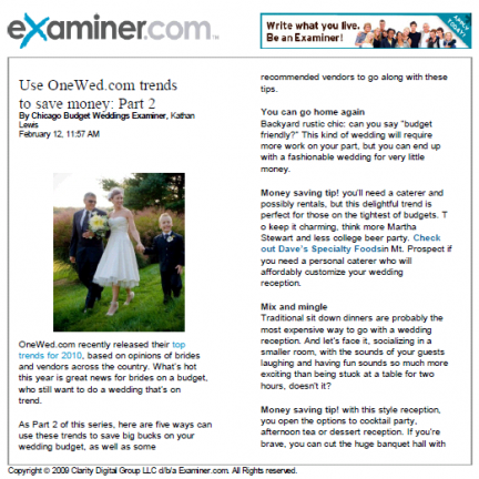 Examiner.com uses OneWed top 10 wedding trends 2010 as budget tips for wedding planning