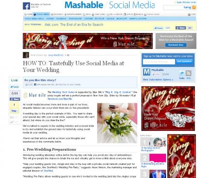 Mashable- HOW TO: Tastefully Use Social Media at Your Wedding