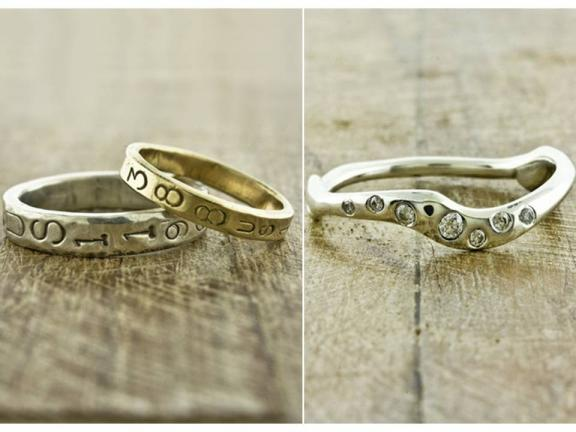 Customized recycled gold wedding bands with wedding date engraved in bands