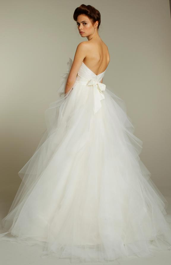 Romantic tulle strapless ball gown wedding dress from Fall 2011 Blush bridal collection with bow detail in back