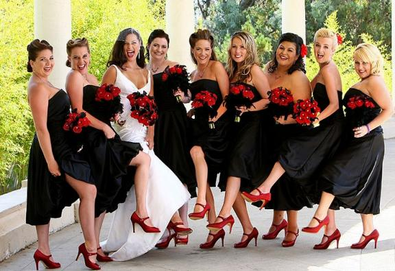 Old Hollywood wedding attire- birdcage veil for bride, red peep toe sling backs for bridesmaids