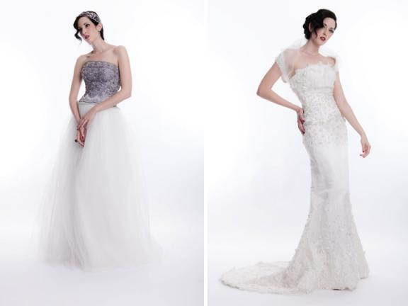 Informal wedding dresses are available in ivory and champagne or white and