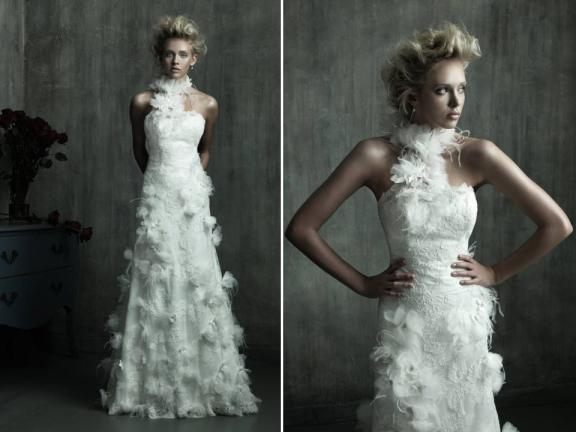 White and ivory feathers are cropping up on everything from wedding dresses