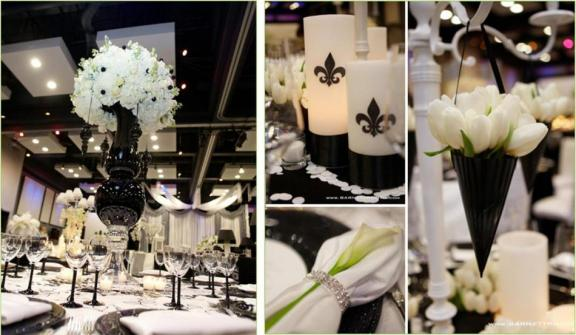 black and white wedding reception decor. hot-pink-lack-and-white-