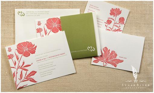 Above: This beautiful two-color letterpress wedding invitation set features