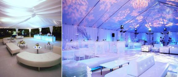White furniture with blue and purple illuminating lights, blue accents on white tables