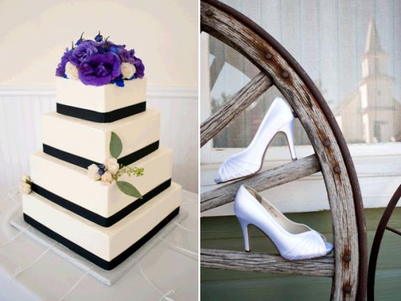 Classic white square 4-tier wedding cake with purple floral cake topper; white satin peep-toe bridal heels