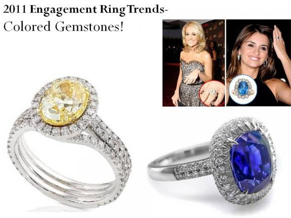 Ring Trends- Colored Gemstones, like Carrie Underwood and Penelope Cruz