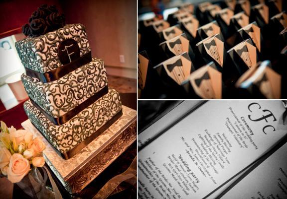 chic black white urban wedding black white damask wedding cake adorable tux