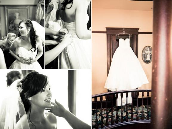 Bride's white ballgown wedding dress hangs on door; bridesmaids help beautiful bride get dressed to walk down the aisle