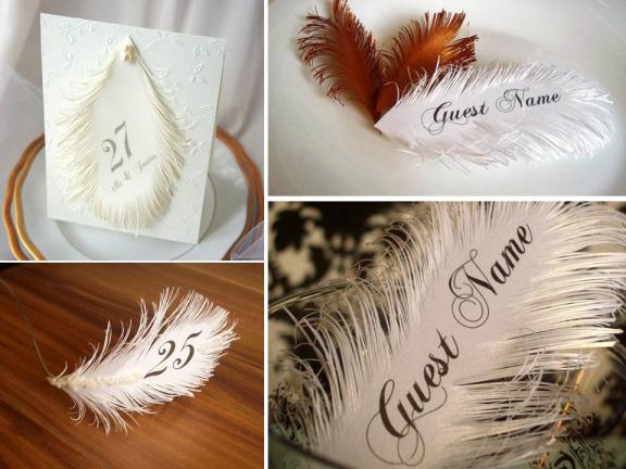 Custom-made escort cards- classic calligraphy on real feathers