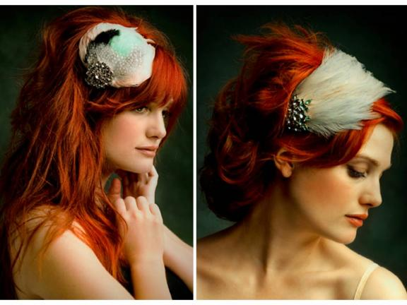 Featheradorned vintage inspired bridal headbands by Bando