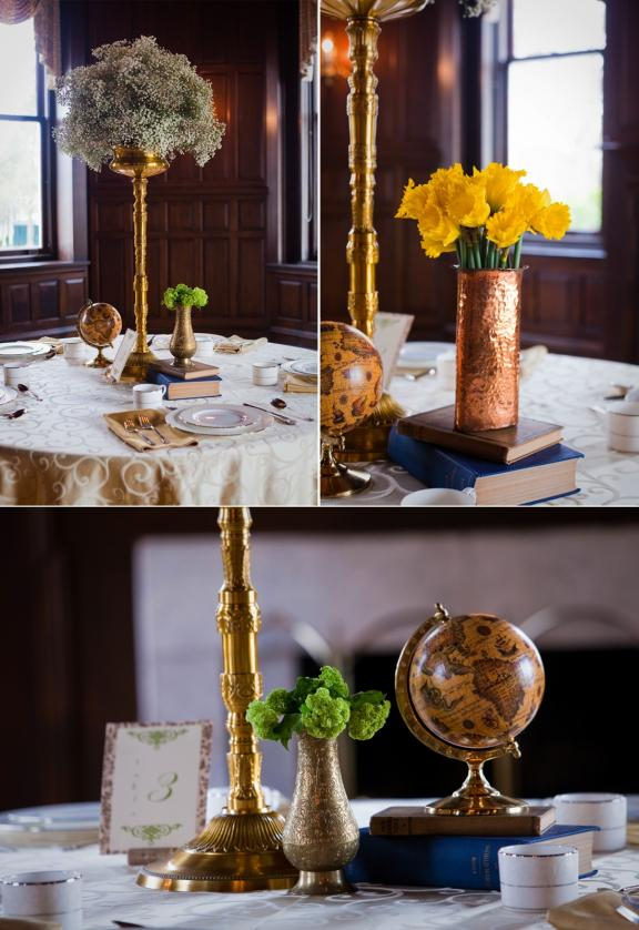 Alternating high-low wedding reception table centerpieces