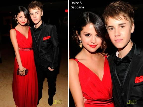 selena gomez red carpet gown. Beiber and Selena Gomez in