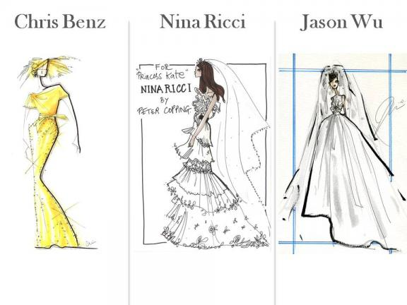 kate middleton wedding dress design. Photo: What bridal designers