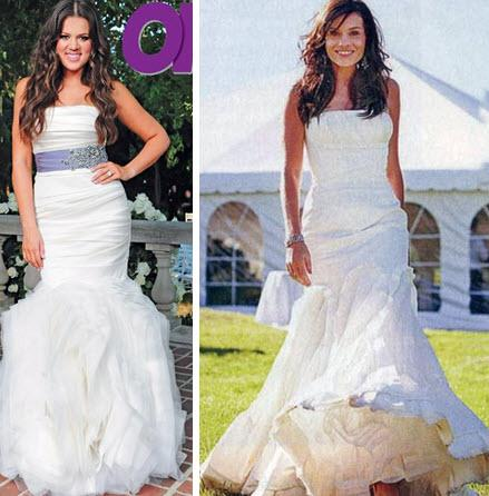 silhouette Vera Wang wedding dresses Photo Khloe Kardashian and Kara