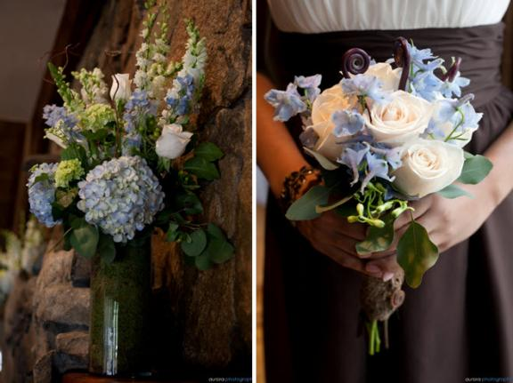 For the bridesmaids 39 bouquets ivory roses light blue delph and monkey