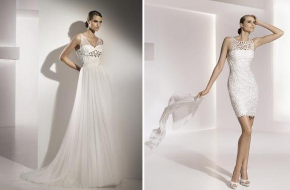 Grecian inspired a-line wedding dress with illusion straps and stunning silver and rhinestone brooch under bust