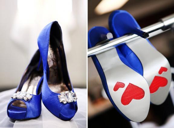 nautical themed wedding red white blue green saphire blue peep toe bridal
