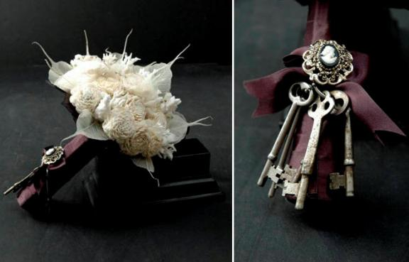 Non Floral Bridal Bouquet Deep Plum Satin Ribbon Cameo Detail White Feathers