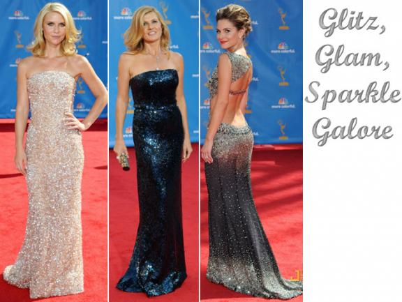 Dazzling all-beaded metallic dresses on 2010 Emmy Awards red carpet