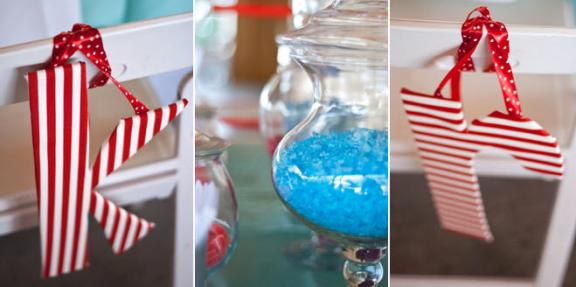 red white aqua blue diy outdoor wedding candy bar at wedding reception Real