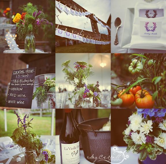 rustic wedding details michigan outdoor reception purple flowers