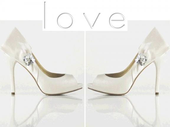 Photo: Love by Enzoani- Ginger bridal heels. There are so many white hot