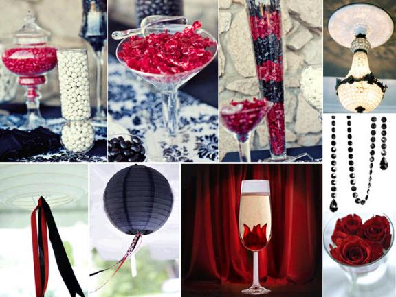 gold and white wedding decorations. Photo: Red, black and white wedding reception decor, including a delicious