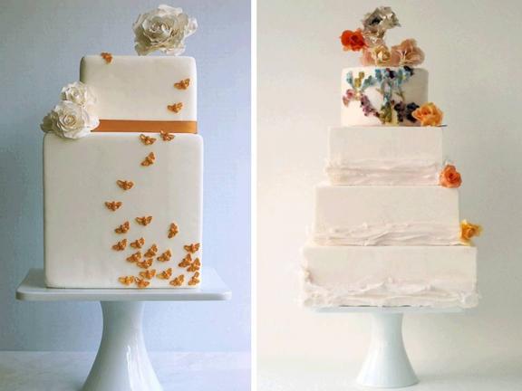 White Wedding Cakes With Flowers. Photo: Spring Wedding Cakes-