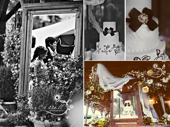 Classic white and black three-tier wedding cake with vintage charm