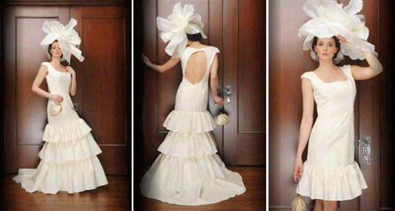 Vintage-chic square neck wedding dress with detachable skirt and open scoop back