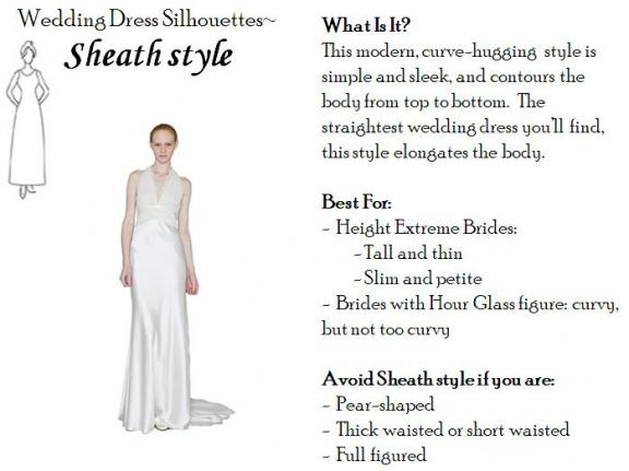 Wedding Dress Silhouettes: Sheath style | OneWed.com :  thin petite dresses shapes
