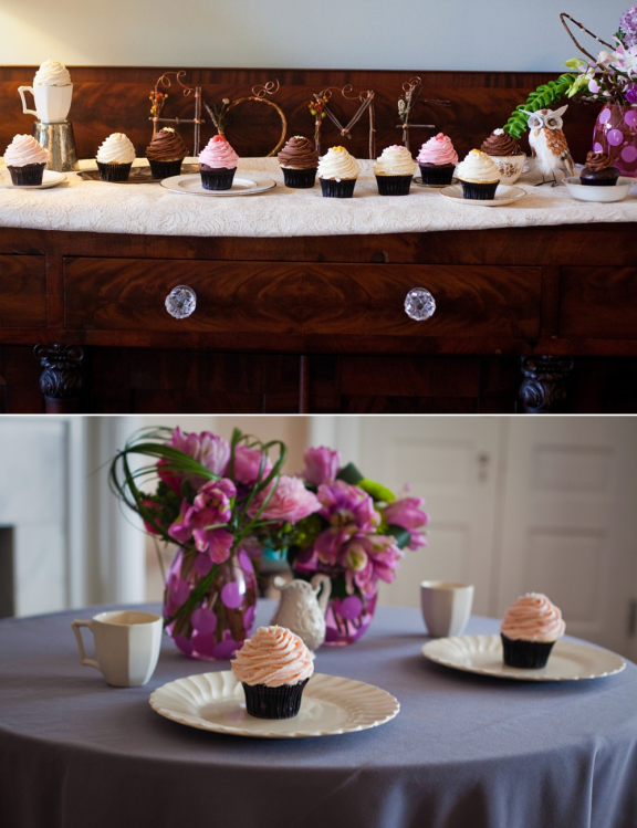 Add eye-catching details to your wedding reception decor with a cupcake display