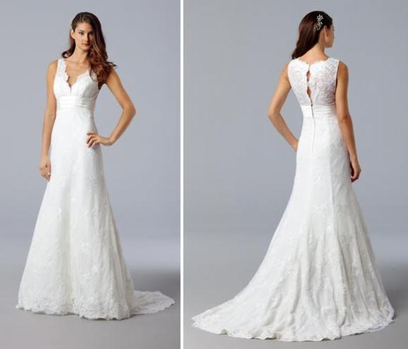 V-neck white lace wedding dress with beautiful timeless lace back