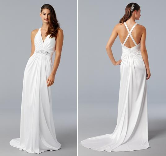 White halter sheath style wedding dress in silk jersey with criss  cross straps in back