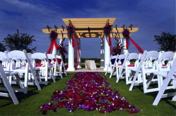 Beautiful Rose Petal and Orchid Bloom Ceremony Aisle