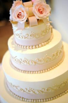 Pearls, Swirls, and Blush Pink Roses Designer Wedding Cakes