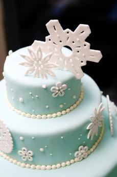 Icy Blue Snowflake Designer Wedding Cakes