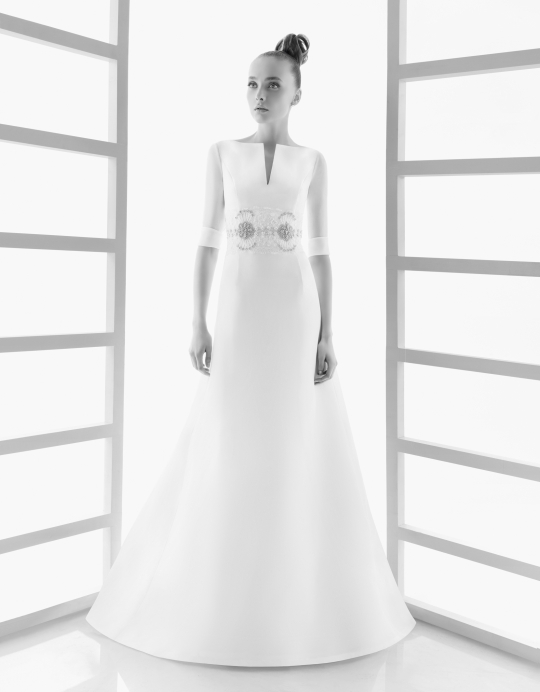 Modest wedding dress with long sleeves and high neck