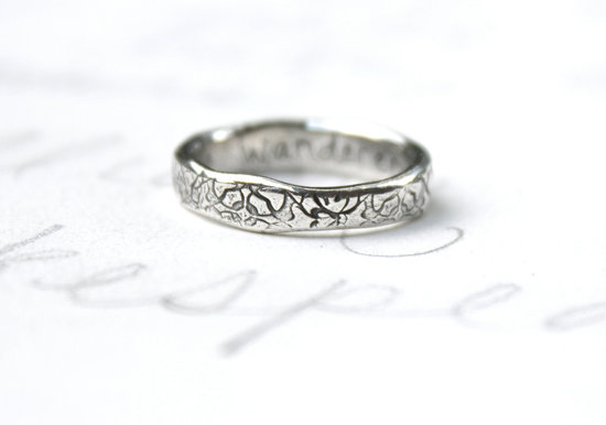 eco friendly wedding finds recycled on Etsy rose engraved ring