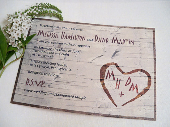 eco friendly wedding finds recycled on Etsy rustic invite 2