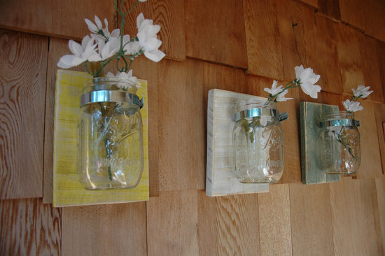 eco friendly wedding finds recycled on Etsy mounted mason jars