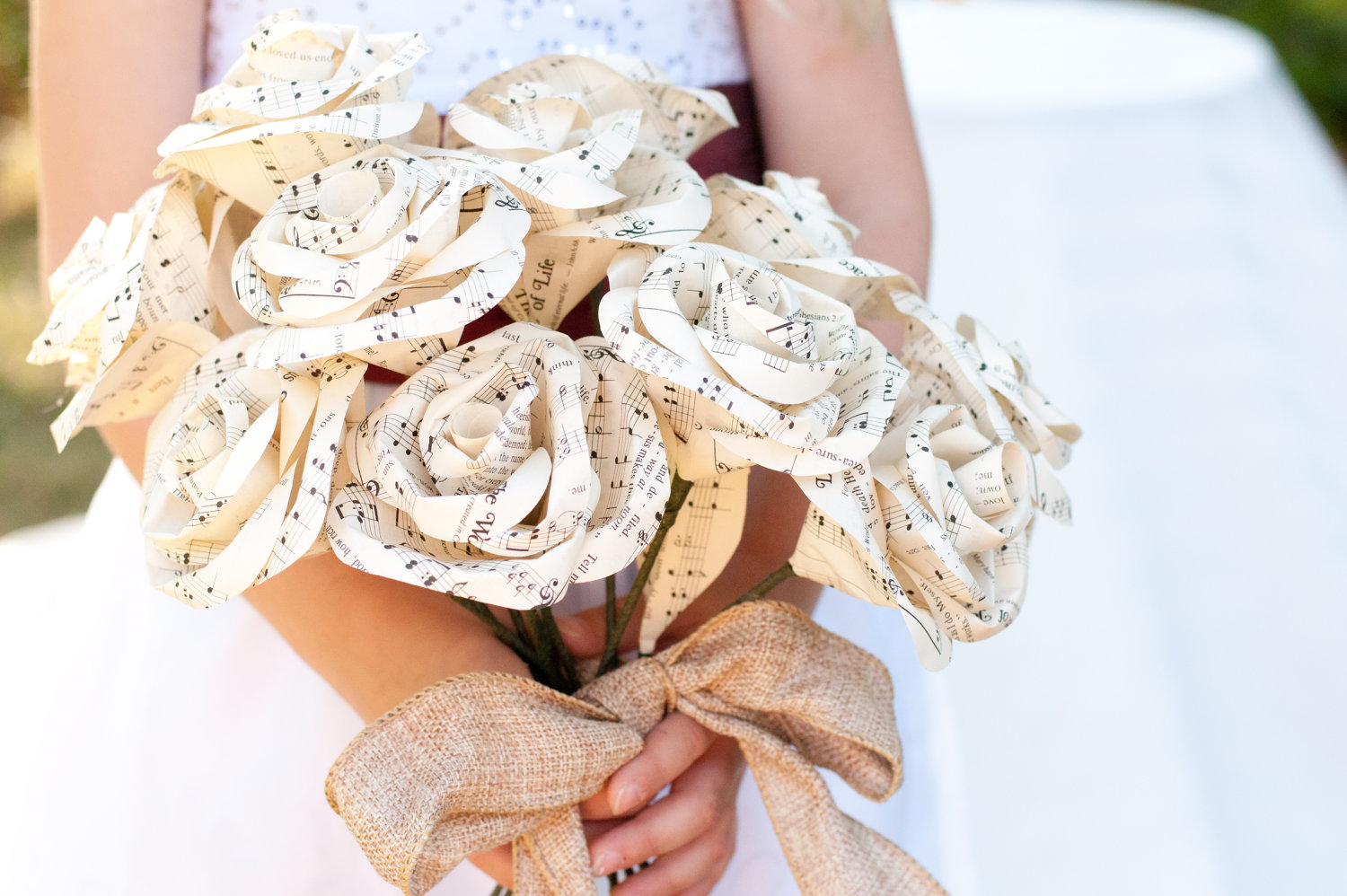 Bridal Bouquet Paper Flowers : Eco friendly wedding finds recycled on etsy music paper