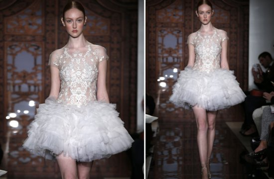 little white wedding dresses for 2013 Reem Acra bridal 1