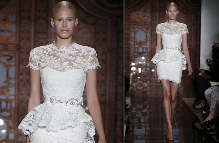 bridal market look 2013 little white wedding dresses Reem Acra